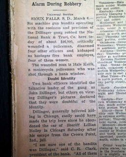 Bandit John Dillinger Famous Sioux Falls SD Bank Robbery Escape 1934 Newspaper