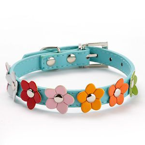 Blue Size XS Puppy Cat Collar Pet Dog Neck Strap Flower Studded Leather Collar