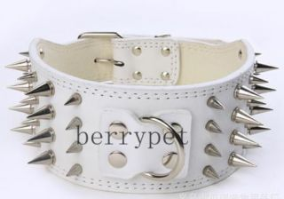 Spiked Studded PU Leather Dog Collar Large Dog Pet Pit Bull Mastiff Collar s M
