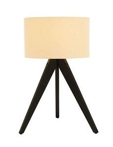 New Tripod Style Lamp Simple Dark Wood Design Modern Lighting White Lampshade