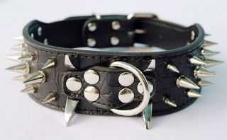 "2inch 19 22"" Black Spiked Leather Dog Collars for Pit Bull Terrier Boxer Collars"