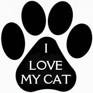 I Love My Cat Paw Print Vinyl Decal Cats Car Window Carrier Cage Laptop Trailer