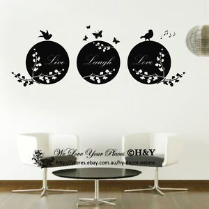 Live Laugh Love Birds Branch Removable Wall Art Quotes Wall Stickers Wall Decal