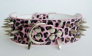 2inch M L Spiked Dog Leather Collar Leopard Leather for Pit Bull Terrier Collars