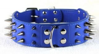 "2"" Wide 3 Row Full Color Spiked Dog Leather Collars Pit Bull Dog Terrier Collars"