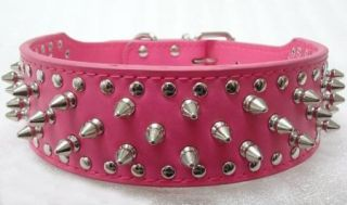 2'' Wide Red Leather Dog Collar Spiked Studded Dog Collar Pit Bull Dog Terrier