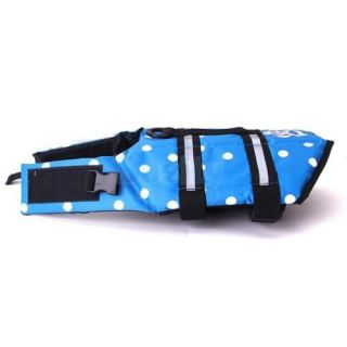 Blue Polka Dots Pet Dog Saver Life Jacket Vest Safety Reflective Strip Size S