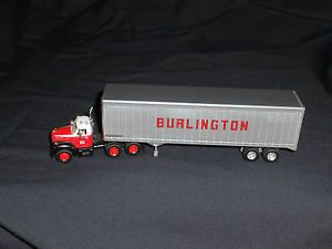 2 Tractor Trailers Burlington Route Truck Lines 18 Wheelers Mack