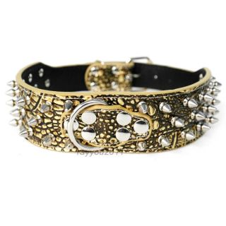 "2"" Snake Gator Leather Spiked Studded Dog Collars Pit Bull Mastiff Boxer Collar"