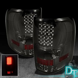 Smoke 2004 2008 Ford F150 Styleside Style Side Full LED Tail Lights Lamps Smoked