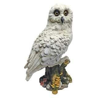 White Owl on Perch Garden Sculpture Forest Bird of Prey Statue