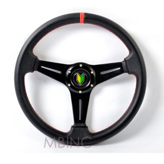 Universal Steering Wheel 3 Spoke Black Red Stitching JDM Logo Horn Button Sport