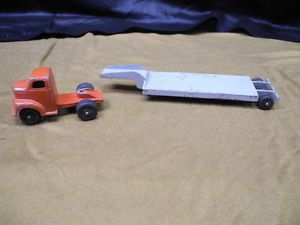 Old Ralstoy Truck and 2 Trailers Log and Flatbed Diecast Cast Iron