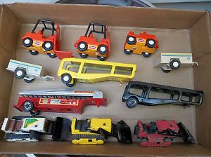 Vintage 1970's Lot of 11 Tonka Truck Car Carrier Phone Trailers Bulldozers
