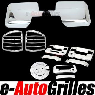 04 08 Ford F150 Chrome Mirror 2 Door Handle Tailgate Gas Cover Taillight Trim