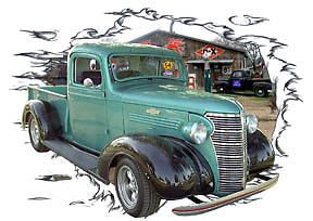 1938 Green Chevy Pickup Truck Custom Hot Rod Garage T Shirt 38 Muscle Car Tee'S