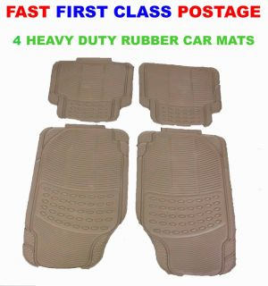4 PC Heavy Duty Beige Car Mats Audi BMW Mercedes Ford Deluxe Luxury Carpets
