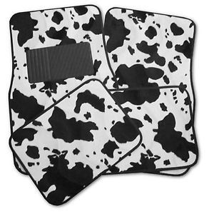 4 PC Animal Print Black White Cow Interior Car Carpet Floor Mats Front Rear