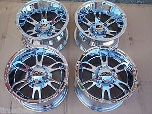 "12"" Suzuki Vinson ITP SS112 Chrome Aluminum ATV Wheels New Set 4 Life Warranty"