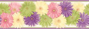 CK83241B Kids Wallpaper Border Daisy Flowers Wall Border Purple Trim