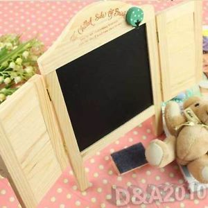 Mini Love Novelty Wood Shutters Blackboard Message Memo Board with Chalk Eraser