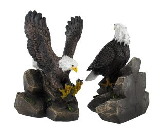 `Freedom End to End` American Bald Eagle Bookends