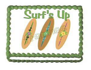 Surf Boards Surf's Up Happy Birthday Edible Cake Image
