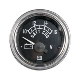 "Stewart Warner Deluxe Series Electrical Voltmeter Gauge 2 1 16"" Dia Black Face"