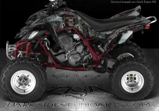 "Yamaha Raptor 660 660R Black Graphics ""The Outlaw"" Decals Wrap Skulls Plastics"