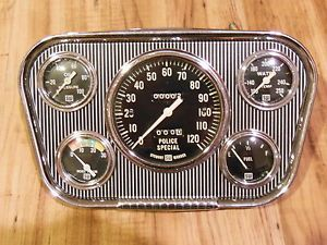 Vintage Stewart Warner 5 Gauge Panel Instrument Cluster SW Speedometer Hot Rod