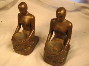 Antique Bronze Art Deco Nouveau Kneeling Girl Bookends