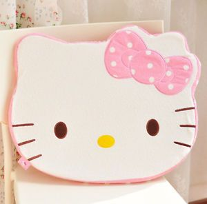 Brand New Cute Hello Kitty Face Car Office Seat Cotton Plush Cushion Mat Pillow