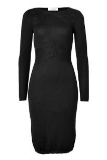 Black Wool Lace Trimmed Dress by VALENTINO