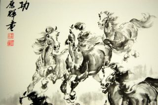 8 Horse Black White Scroll Feng Shui Wall Art Gift
