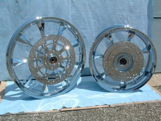 Honda Fury Chrome Rims Wheels Polished Rotors ABS INSTOCK VTX1300 VTX 1300