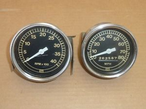 Vintage Stewart Warner Gauges Tachometer Speedometer Hot Rod