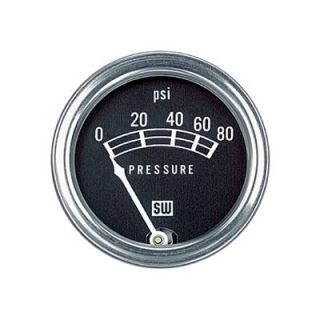 "Stewart Warner Standard Series Mechanical Pressure Gauge 2 1 32"" Dia Black Face"