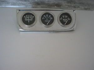 Vintage Stewart Warner Amp Oil PSI Temp Gauge Chrome Panel Rat Hot Rod Gasser