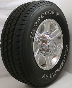 "2013 Dodge RAM 8 Lug 2500 17"" Polished Wheels Rims Firestone A T Tires"