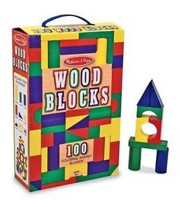Melissa Doug Classic Wooden Building Block Set Kids Colored Wood Blocks Shapes