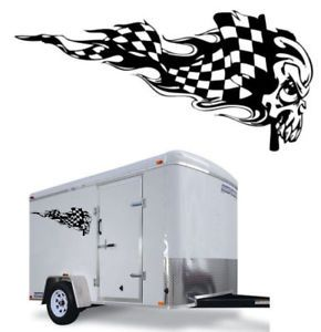 Checkered Flag Skull Graphic Decal Race Trailer Truck