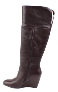 Nine West Oh Goodie Womens Dark Brown Leather Knee High Boots Size 7