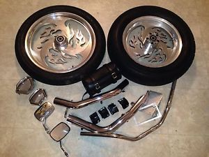 Harley Davidson Dyna Super Glide Superglide Aluminum Wheels Tires Chrome Parts