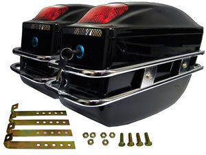Black Hard Trunk Saddl for Harley Sportster Softail Dyna Custom Cruisers