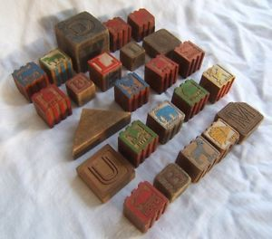 24 Ornate Antique Vintage Wooden Building Blocks Letters Animals Decorative
