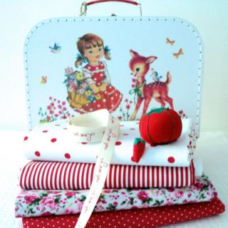Fabric Bundle in A Vintage Girl Bambi Suitcase Christmas Gift Sewing Kit Chic
