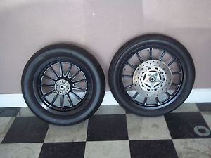Harley Davidson Sportster Dyna Black Wheels Rims w Tires Dual Disc '00 Later
