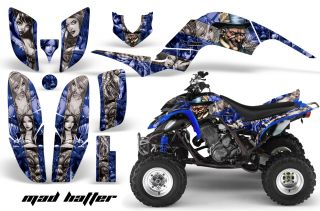 AMR Racing ATV Quad Graphic Sticker Kit Yamaha Raptor 660 Parts Madhatter Blue