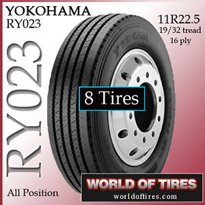 8 Tires Yokohama RY023 11R22 5 16 Ply Tire Semi Truck Tires 11R225 11225