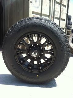 "17"" Black Rims Tires 8x165 Hummer H2 SUT Falken at LT315 70 17 XD Misfit"